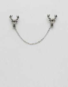 Серебристые уголки и цепочка для воротника олень Noose & Monkey - Серебряный