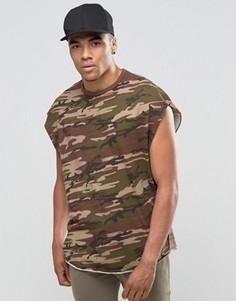 Oversize-футболка без рукавов винтажного цвета хаки с принтом ASOS - Синий