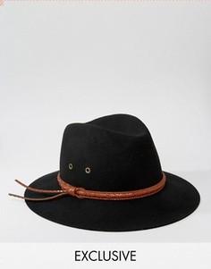 Мягкая фетровая шляпа с кожаной отделкой Reclaimed Vintage - Черный
