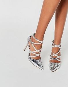 Босоножки на каблуке с ремешками и острым носком ASOS POTION - Серебряный