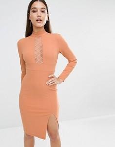 Платье-футляр с длинными рукавами и сетчатой вставкой в ромбик NaaNaa - Оранжевый