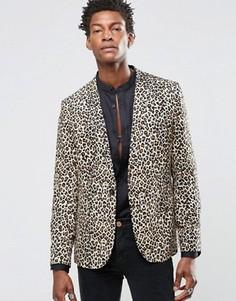 Вискозный пиджак скинни с леопардовым принтом Religion - Рыжий