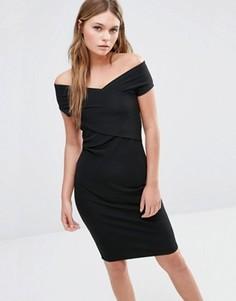 Облегающее платье с запахом спереди Fashion Union - Черный