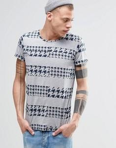 Серая футболка в полоску с принтом гусиная лапка Cheap Monday - Серый