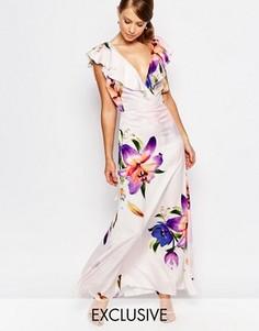 Платье макси из органзы с оборкой и принтом True Violet - Мульти