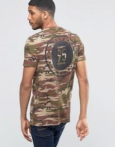 Удлиненная камуфляжная футболка цвета хаки с принтом на спине ASOS - Зеленый