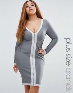 Бандажное облегающее платье Missguided Plus - Серый