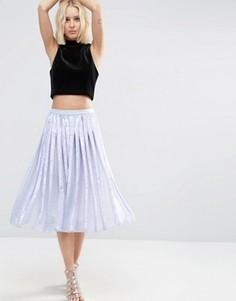 Плиссированная юбка миди с пайетками ASOS - Синий