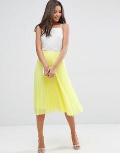Плиссированная юбка миди ASOS - Желтый