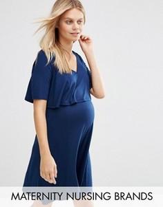 Двухслойное приталенное платье для беременных Bluebelle Maternity Nursing - Темно-синий
