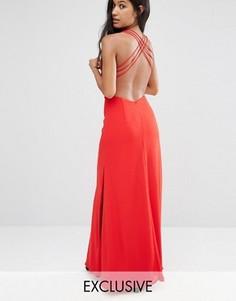 Платье макси с вырезом и перекрестными лямками Fame and Partners - Красный
