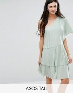 Многоярусное платье мини на одно плечо со складками ASOS TALL - Зеленый