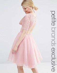 Платье миди для выпускного с кружевным лифом и вырезами John Zack Petite - Розовый