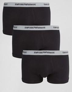 3 хлопковых боксеров‑брифов стретч Emporio Armani - Черный