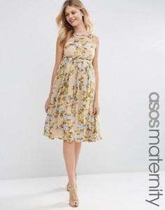Желтое платье миди для беременных с цветочным принтом ASOS Maternity - Мульти