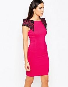 Платье-футляр с кружевными вставками на плечах Vesper Rogue - Розовый