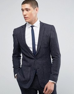 Трикотажный пиджак суперзауженного кроя в крапинку ASOS - Темно-синий