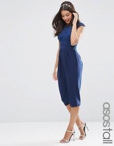 Платье миди с кружевным лифом ASOS TALL WEDDING - Темно-синий