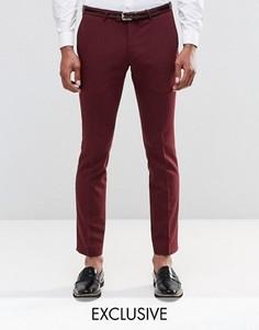 Супероблегающие брюки из хлопкового атласа Noose & Monkey - Красный