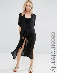 Пляжная рубашка для беременных с завязкой спереди ASOS Maternity - Черный