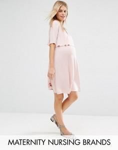 Двухслойное приталенное платье для беременных Bluebelle Maternity Nursing - Розовый