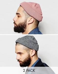2 шапки в рубчик (розовая, меланжевая) ASOS - СКИДКА - Мульти