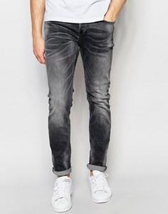 Черные джинсы слим с выбеленным эффектом Only & Sons - Черный
