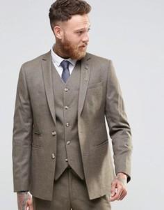 Коричневый твидовый пиджак узкого кроя ASOS - Коричневый