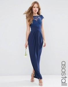 Платье макси с кружевным топом и плиссировкой ASOS TALL WEDDING - Темно-синий