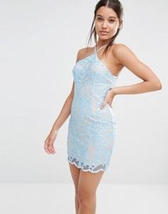 Кружевное платье мини с халтером Love Triangle - Синий