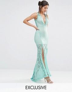 Кружевное платье макси с глубоким вырезом и решетчатой отделкой Love Triangle - Синий