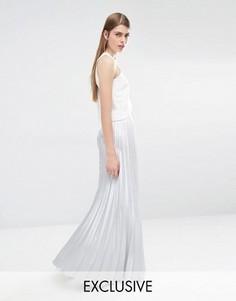 Плиссированная юбка макси True Violet - Серебряный