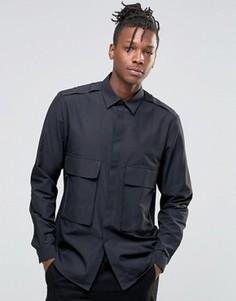 Рубашка классического кроя в стиле милитари с двумя карманами на молнии ASOS - Черный
