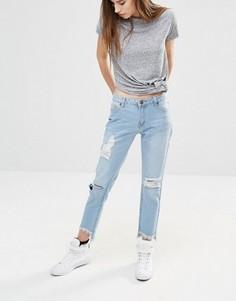 Укороченные джинсы бойфренда с асимметричными краями Liquor & Poker - Синий
