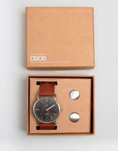 Набор с часами и запонками ASOS - Серебряный