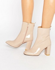 Ботильоны на каблуке с квадратным носком Public Desire Ramona - Бежевый