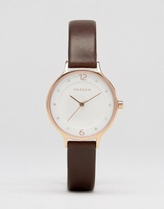 Часы с коричневым кожаным ремешком Skagen Anita SKW2472 - Коричневый