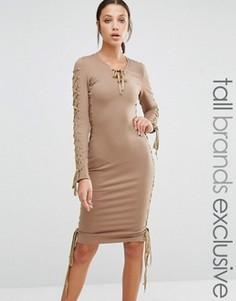 Облегающее платье-футляр с глубоким декольте True Decadence Tall - Розовый