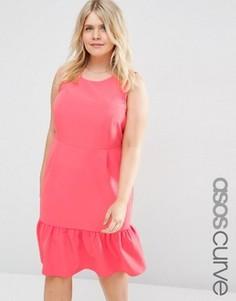 Платье-футляр миди с оборками по краю ASOS CURVE - Розовый