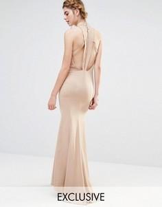 Свадебное платье макси с высокой горловиной и отделкой спинки Jarlo - Коричневый