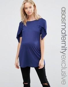 Футболка для беременных с оборками на рукавах ASOS Maternity - Темно-синий