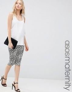 Юбка миди для беременных с леопардовым принтом ASOS Maternity - Мульти