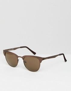Солнцезащитные очки в фактурной металлической оправе ASOS - Коричневый