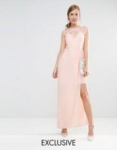 Платье макси с вырезом сердечком и отделкой кружевом Elise Ryan - Розовый