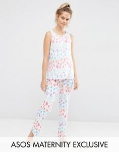 Пижамный комплект для беременных с майкой и брюками с леопардовым принтом ASOS Maternity - Мульти