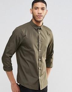 Классическая строгая рубашка цвета хаки с длинными рукавами ASOS - Зеленый