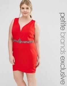 Облегающее платье с отделкой пояса и глубоким вырезом Little Mistress Plus - Красный