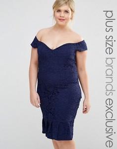 Кружевное платье‑футляр с кромкой‑оборкой Paper Dolls Plus - Темно-синий