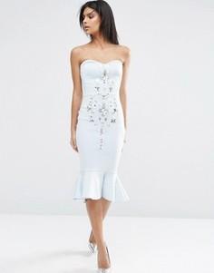 Платье миди бандо с декоративной отделкой ASOS Pephem - Синий