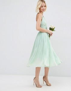Платье миди ASOS WEDDING Hollywood - Синий